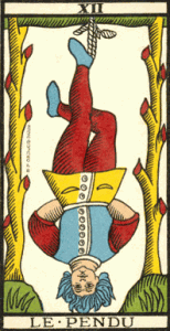 Tarotkort XII Le Pendu (den hängde mannen). Tarot de marseille.